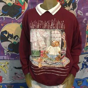 Vintage Bear World Traveler Collared Sweatshirt XL